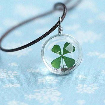 Flower Lockets Necklace Leather Chain Four Leaf Clover Glass Cabochon Wish Bottle Pendant Necklace Jewelry