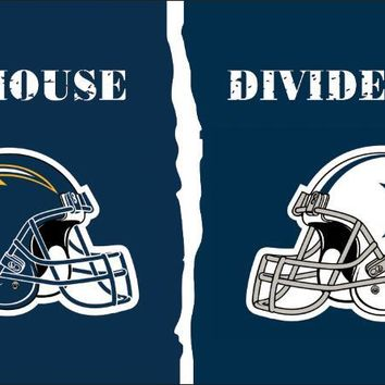 Los Angeles Chargers VS Dallas Cowboys house and divided flag 100D polyester digital printed banner 150x90cm  71084