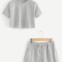 Cuffed Crop Tee With Shorts