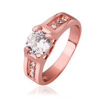 Crystal Chanel Prong 18K Rose Gold Plated Ring