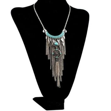 DCCKIX3 Bohemian style silver plated alloy moon shape rhinestone blue beads tassel necklace (Color: Silver)