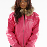 Pelle Pelle Women's Bright Pink Plush Hood Jacket