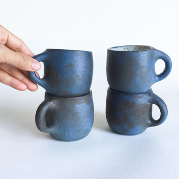 DENIM BLUE CUP 6 oz, ceramic, pottery, handmade, rustic, coffee, tea, hot, cocoa, chocolate, milk, water, chai, espresso, teacup