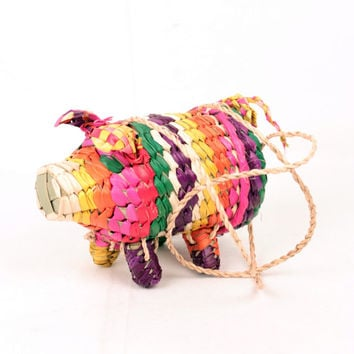 woven grass pig purse // shoulder strap