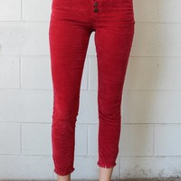 Free People Reagan Raw Jean Cords - Red