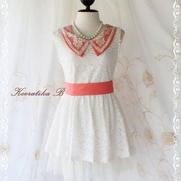 Spring Princess - Sweet Girly Simply Summer Sundress White Lace With Orange Collar Matching Sash Simply Spring Summer Dress