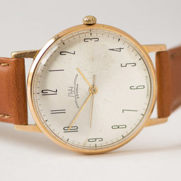 Outstanding vintage men's watch ultra slim gold plated watch Luch shiny face wristwatch premium leather