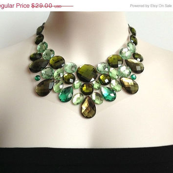 ON SALE green bib necklace - olive green, L.green and emerald green bib unique necklace, bridesmaids, prom statement necklace