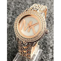 "Hot Sale ""MICHAEL KORS"" MK Popular Ladies Men Delicate Diamond Quartz Movement Wristwatch Watch Rose Golden I11963-1"