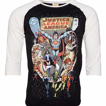 Men's DC Comics Vintage Justice League Of America Comic Cover Baseball T-Shirt