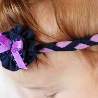 Baby Girl Clothing, Baby Girl Headband, Purple and Navy Headband, Upcycled Knit Headband