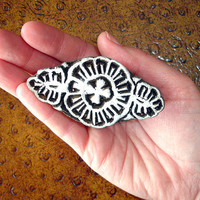 Flower Stamp: Hand Carved Wood Stamp, Handmade Indian Printing Block from India for Textiles, Ceramics, Pottery
