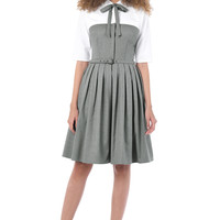 Tie neck belted colorblock shirtdress