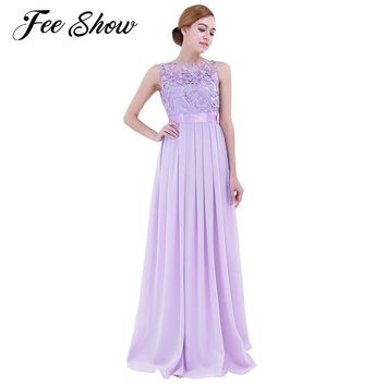 2018 Fashion Women Chiffon Embroidered Maxi Dresses Sleeveless Long Vestido De Festa Evening Prom Gown Wedding Party Long Dress