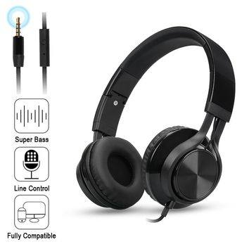 Folding Stereo Bass Headset 3.5mm Wired Music Earphone Headphones with Microphone Gaming Headset for Phone Mp3 PC Computer