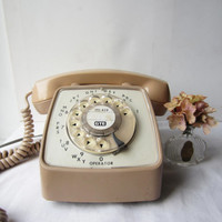 Vintage Beige & White Rotary Phone - GTE Automatic Electric Rotary Telephone - Works Great