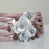 Pink and Grey Leather Bracelet, Silver Flowers  Cuff