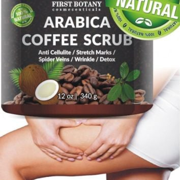100% Natural Arabica Coffee Scrub 12 oz. with Organic Coffee Coconut and Shea Butter