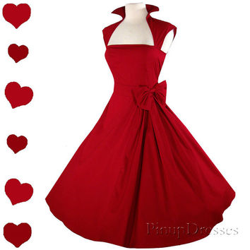 New Red Rockabilly  50s Style Pinup Party Dress S M L Xl XXL 1X 2X 3X Plus Size Vintage Style Collar Bow Full Skirt Party