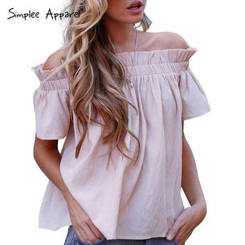 Simplee Apparel waveselvedge chiffon blouse shirt Off shoulder short puff sleeve white blouse women Casual summer blouse 2016