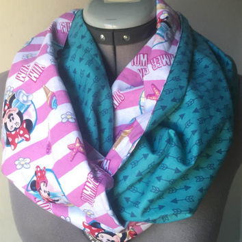 Disney Minnie Mouse Infinity Scarf, Circle Scarf, Fashion Accessory, Hipster, Gift, Present, Geek, Nerd, Arrow, Teal, Pink, Beach, Summer