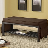 A.M.B. Furniture & Design :: Bedroom furniture :: Bedroom Benches :: Mazel collection chocolate finish fabric padded seat with skirt bedroom bench with storage shelf underneath