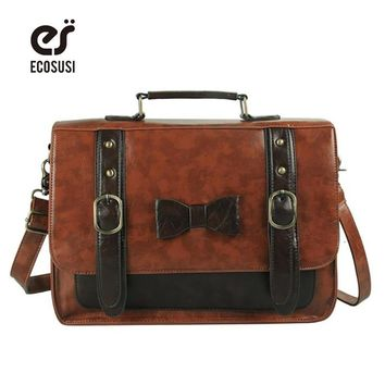 ECOSUSI New Briefcase Women Messenger Bags Fashion Cross-Body Bag Leather Femininas Briefcases For Women Vintage Totes