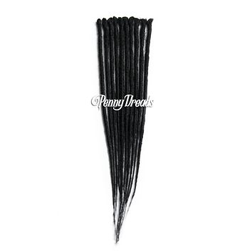 Jet Black Single Ended Synthetic Dreadlock Extensions 20""