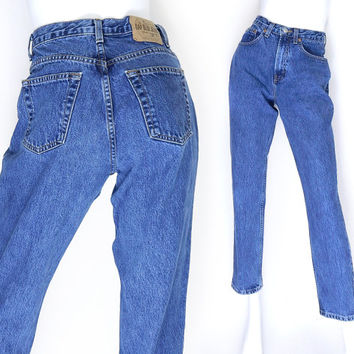 """Sz 6 90s GAP High Waisted Classic Fit Mom Jeans - Vintage Relaxed Fit Dark Stone Wash Rinse Women's Ankle Jeans - 27"""" Waist"""