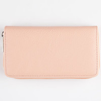 Solid Zip Around Wallet Peach One Size For Women 25123870601