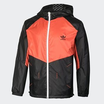 Adidas Hooded Zipper Cardigan Jacket Coat Sport Windbreaker Sportswear (Two Side Wear Reversible) Orange/Black