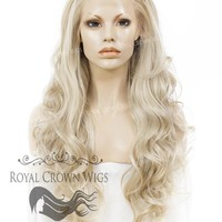 "26 inch Heat Safe Synthetic Lace Front ""Constance"" with Curly Texture in White/Platinum Blonde Mix"