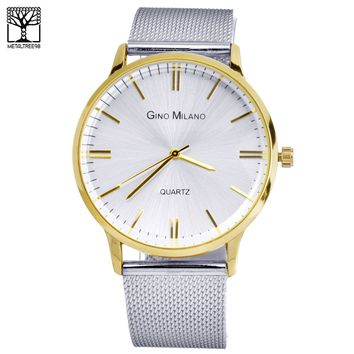 Jewelry Kay style Men's Fashion 14K Gold Plated Stainless Steel Metal Mesh Band Watches WM 7974 TT