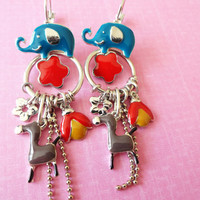 Elephant pendant earrings, blue horse earrings, red flower funky jewelry, ladybug accessories, colorful jewelry, girl birthday gift,