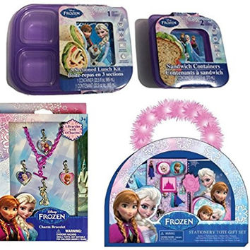 Girl Disney Gift Set Bundle Christmas Stationary Tote Sandwich Container Lunch Kit Jewelry Accessories Set Tiffany Style Necklace