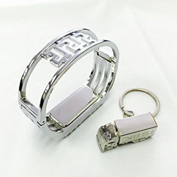 BSI 1pc Elegant Silver Color Replacement Metal Band Bracelet for Fitbit Flex /No tracker/ Wireless Activity and Sleep Bracelet Sport Wristband + Free Silver Metal Truck Keychain with BSI(TM) LOGO