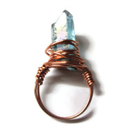 Quartz Point Ring, Light Blue, Wire Wrapped in Copper Colored Wire, Statement Jewelry, Size 6.5