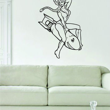 Pin Up Girl Riding Rocket Design Decal Sticker Wall Vinyl Decor Art