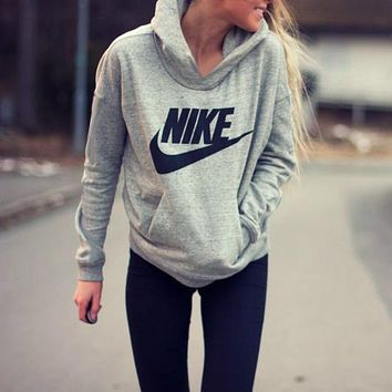 "Women Fashion ""NIKE"" Hooded Top Sweater Pullover Sweatshirt"