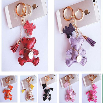 2016 Cute Leather Bear keychain For Women Tassel Key chain oso porte clef llaveros de cuero Key Rings portachiavi For Bag Charm