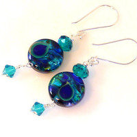 Blue Peacock Lampwork Earrings by LadyBGems on Etsy