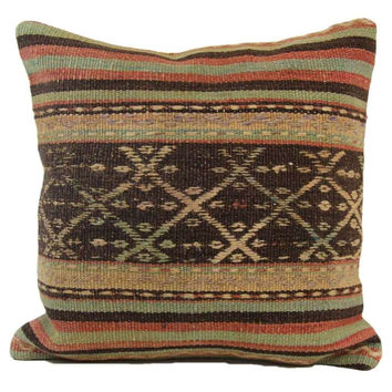 Whitney Beige/Brown Striped Pattern Kilim Pillow Cover