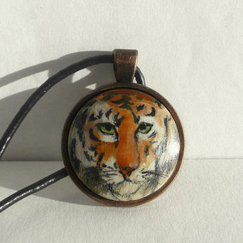 Hand Painted Animal Necklace, Tiger Necklace Tiger Pendant, Small Painting Jewelry, Wild Life, Animal Art, Wild Cat Necklace by ARTDORA