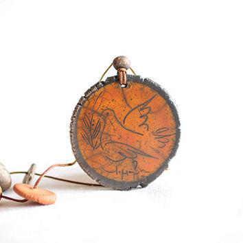 Ancient Greek art ceramic clay necklace, Nature jewelry, Bird necklace, leather pendant, Engraved necklace