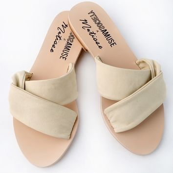 Capri Ivory Leather Slide Sandals
