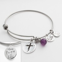 love this life Silver-Plated & Stainless Steel Amethyst Bead & Cross Charm Bangle Bracelet (Purple)