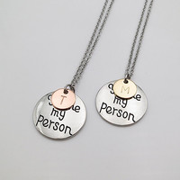 Personalized gifts 2 tones You are my person necklace initial necklace hand stamped Letter Necklace anniversary gifts BFF gift