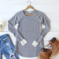 Lace Cuff Thermal in Gray