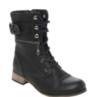 Black And Navy Buckle Combat Boot