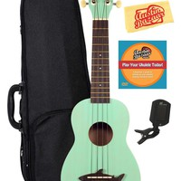 Kala MK-SS-GRN Makala Shark Bridge Soprano Ukulele with Vintage Satin Finish Deluxe Bundle - Surf Green